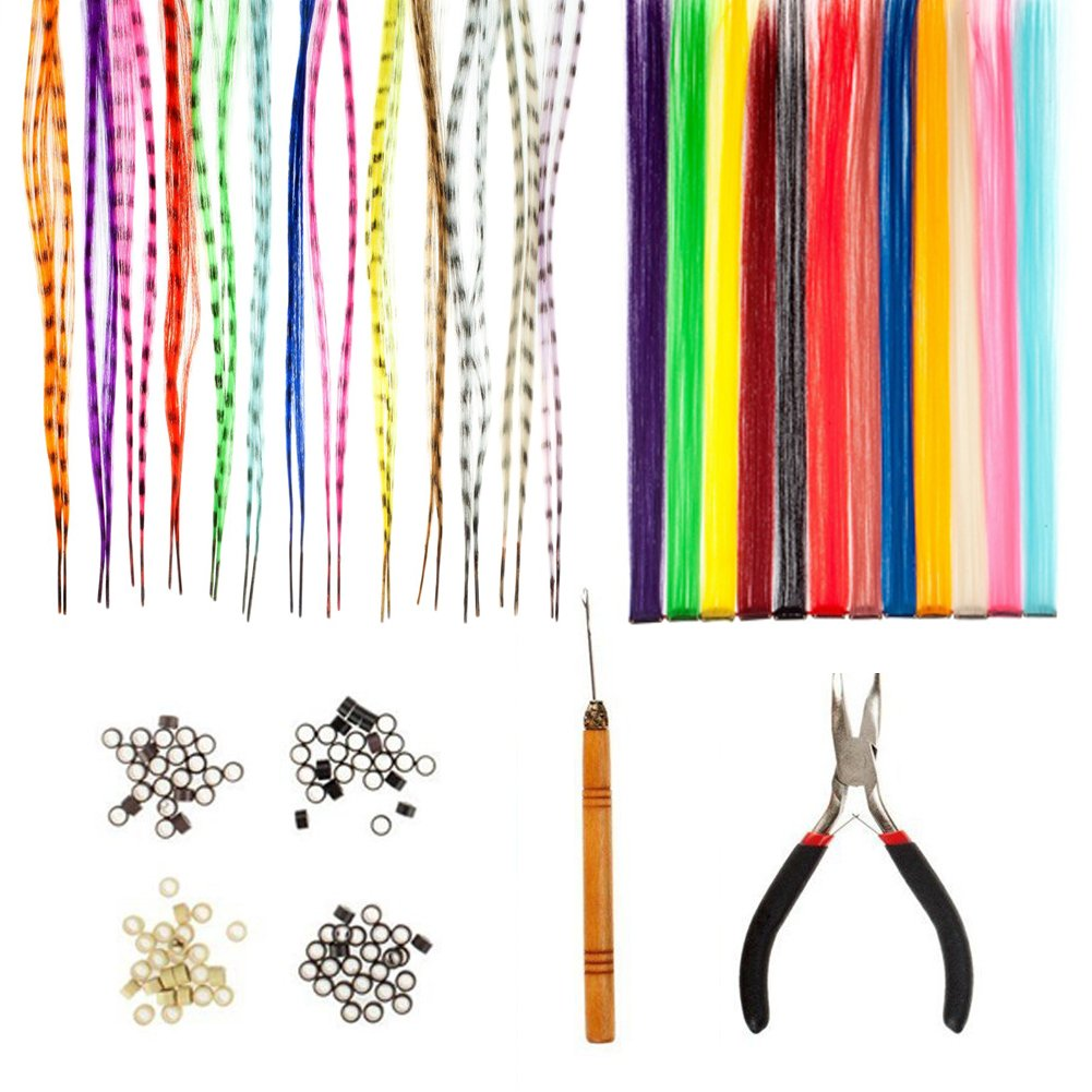 Amazing Offer Best Quality Styling Hairdressers Salons Set Kit With 12pcs Party Fake Synthetic Long Clip On Extensions With Iron Pins In Different Colours, 26pcs Striped Colourful Hair Pieces, 100pcs Silicone Micro Beads In 4 Colours, Pliers And Wooden Hoo