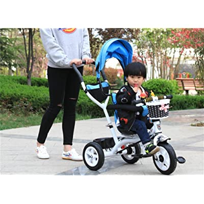 Tricycle Baby Carriage Bike Child Toy Trolley Roue gonflable Vélo 3 roues, siège rotatif (garçon / fille, 1-3-5 ans)