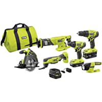 Ryobi 18-Volt ONE+ Lithium-Ion Cordless 6-Tool Combo Kit With 2 Batteries / Charger & Bag