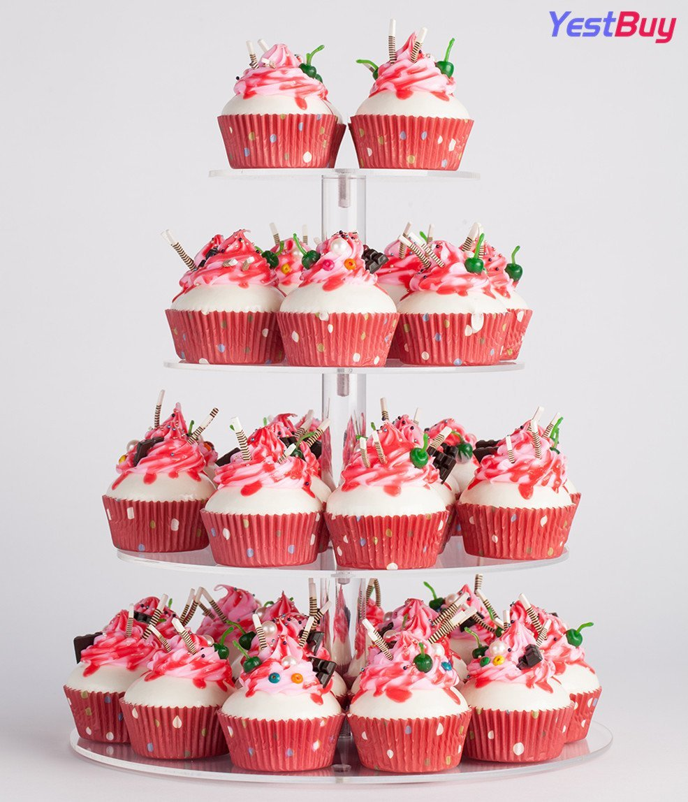 YestBuy 4 Tier Maypole Round Wedding Party Tree Tower Acrylic Cupcake Display Stand (12.8 Inches) by YestBuy (Image #3)