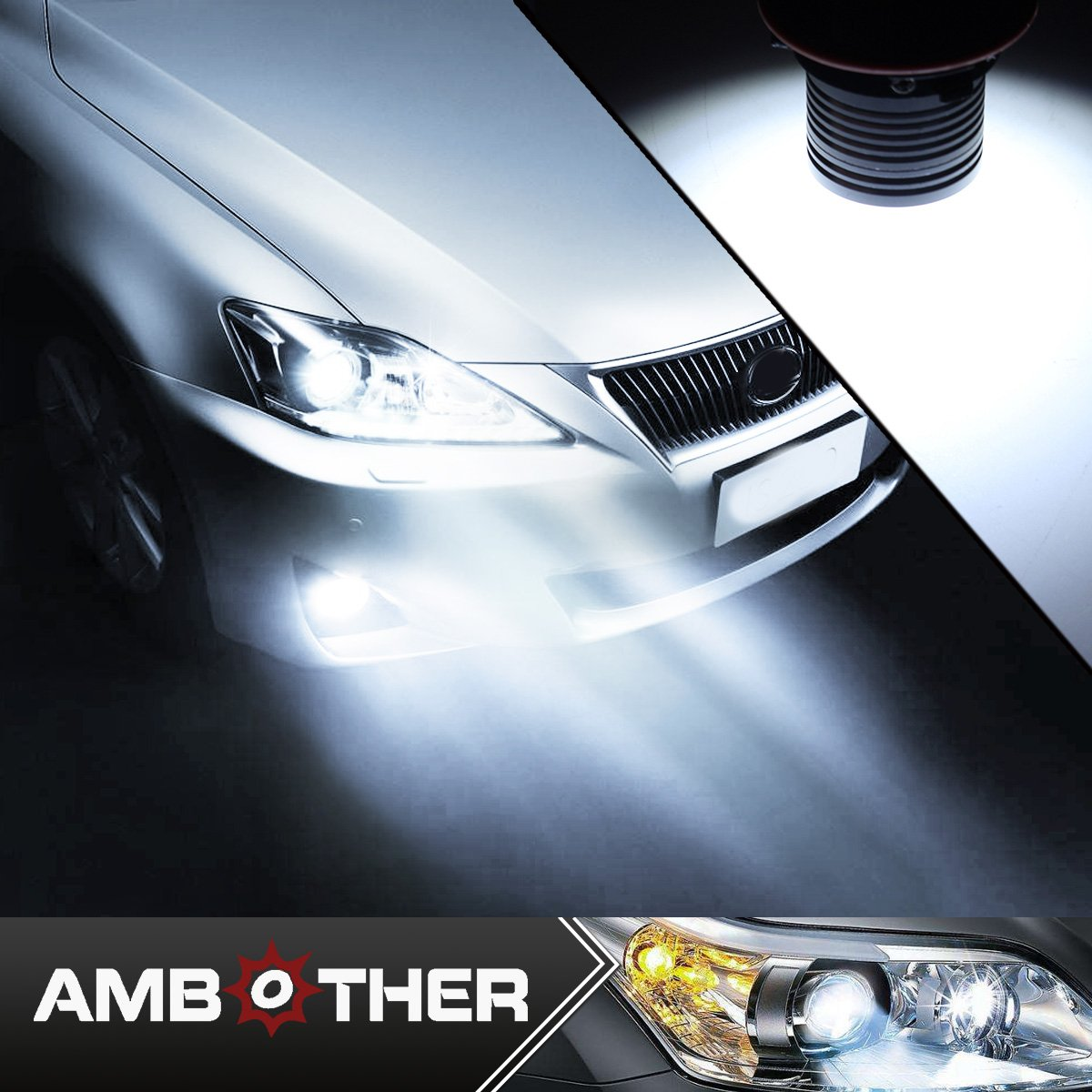 AMBOTHER 2 x LED Auto Faros de Xenón Auto Headlight Angel Eyes luz RGB LED marcador Ángel Ojos 3 W 7000 K Blanco para: Amazon.es: Coche y moto