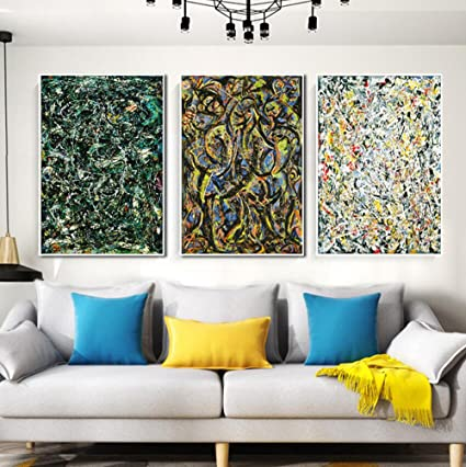 amazon com combo painting 3 pieces by jackson pollock framed