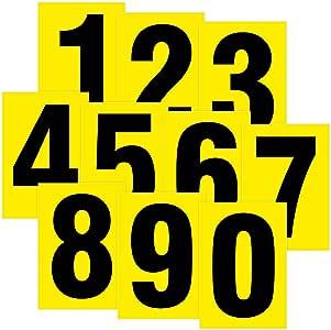 Números Negro sobre Amarillo resistente a la intemperie