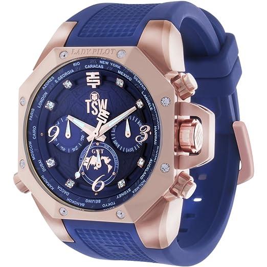 TechnoSport (TSW) ts-100-lp3 Mujer Lady piloto azul marino azul reloj mundo temporizador GMT con cristales de Swarovski: Technosport: Amazon.es: Relojes