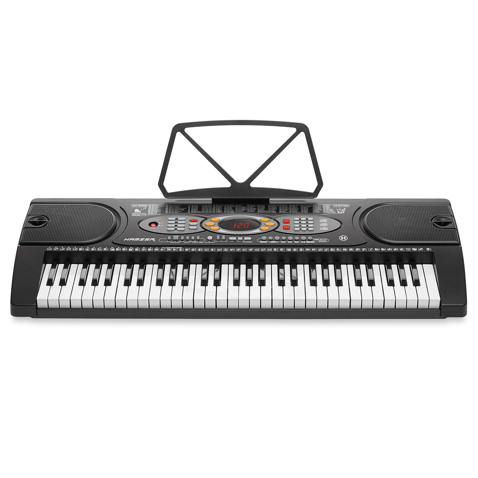 Hamzer 61-Key Electronic Keyboard Portable Digital Music Piano with H Stand, Stool, Headphones Microphone, Sticker Set by Hamzer (Image #2)