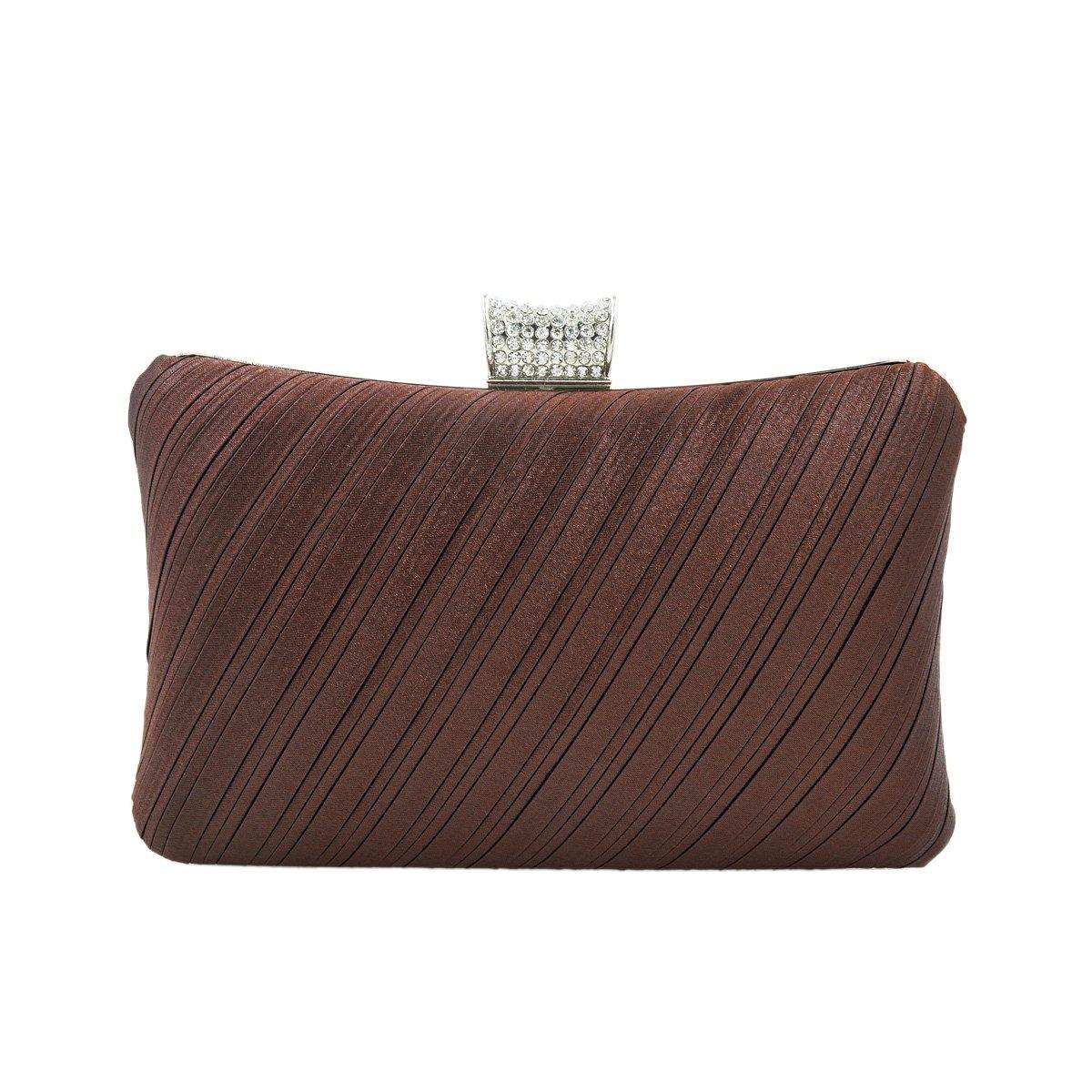 Elegant Pleated Satin Hard Clutch Rhinestones Top Evening Bag, Coffee