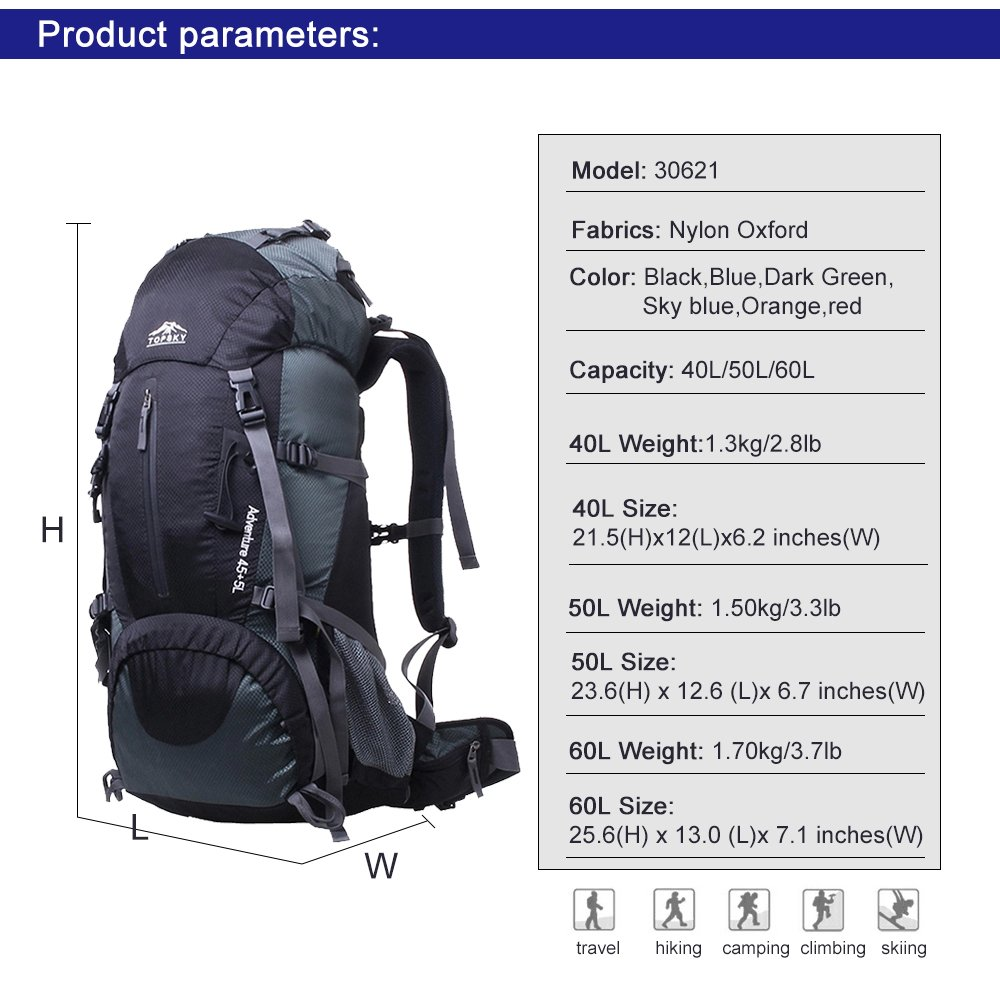 5d5abbd2a85d Topsky Internal Frame Backpack 40L 50L 60L Trekking Rucksack Hiking ...