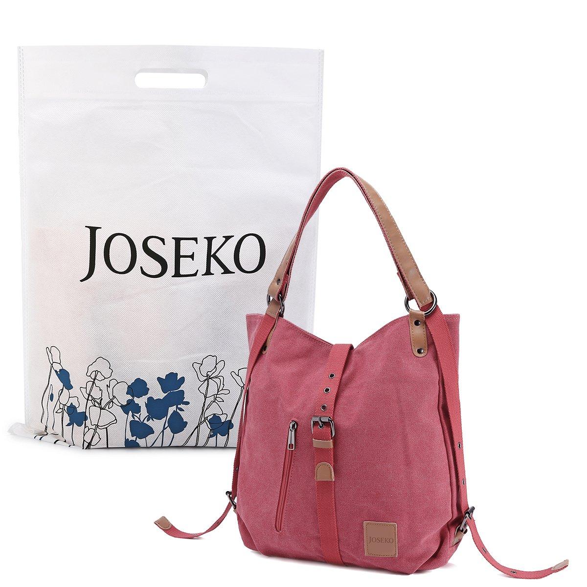 Fashion Shoulder Bag Rucksack, JOSEKO Canvas Rucksack Multifunctional Casual Daily Handbag Travel Backpack for Women Girls Ladies Female Black