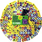 45 Sheet Scratch and Sniff Stickers For Kids Mega Variety Pack by Purple Ladybug Novelty, with 15 different Scratch N Sniff intense smells, amazing 80s retro fun! Includes FREE Bonus Sample Pack!