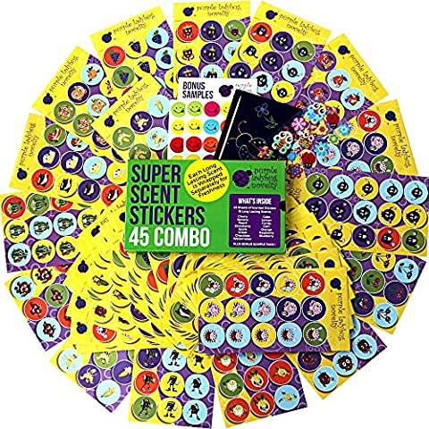 45 Sheet Scratch and Sniff Stickers For Kids & Teachers Mega Variety Pack by Purple Ladybug Novelty, with 15 different Scratch N Sniff intense smells, Awesome Smelly Sticker & Reward Sticker (A Sticker)