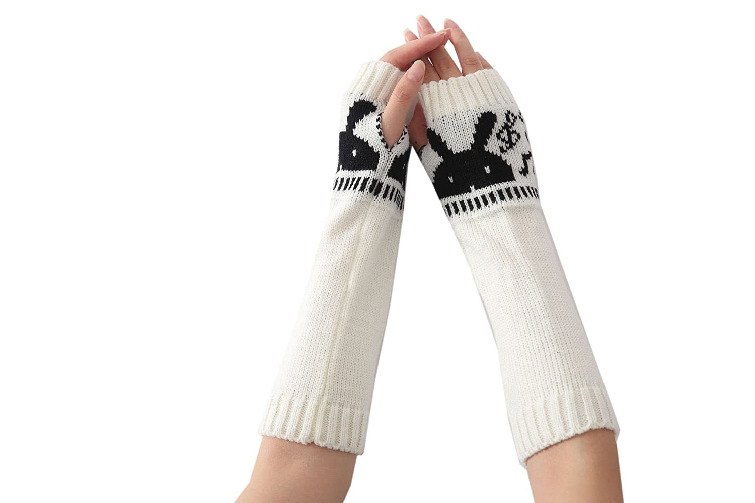 ACVIP Ladies Girls Winter Rabbit Knitted Fingerless Arm Warmers Gloves