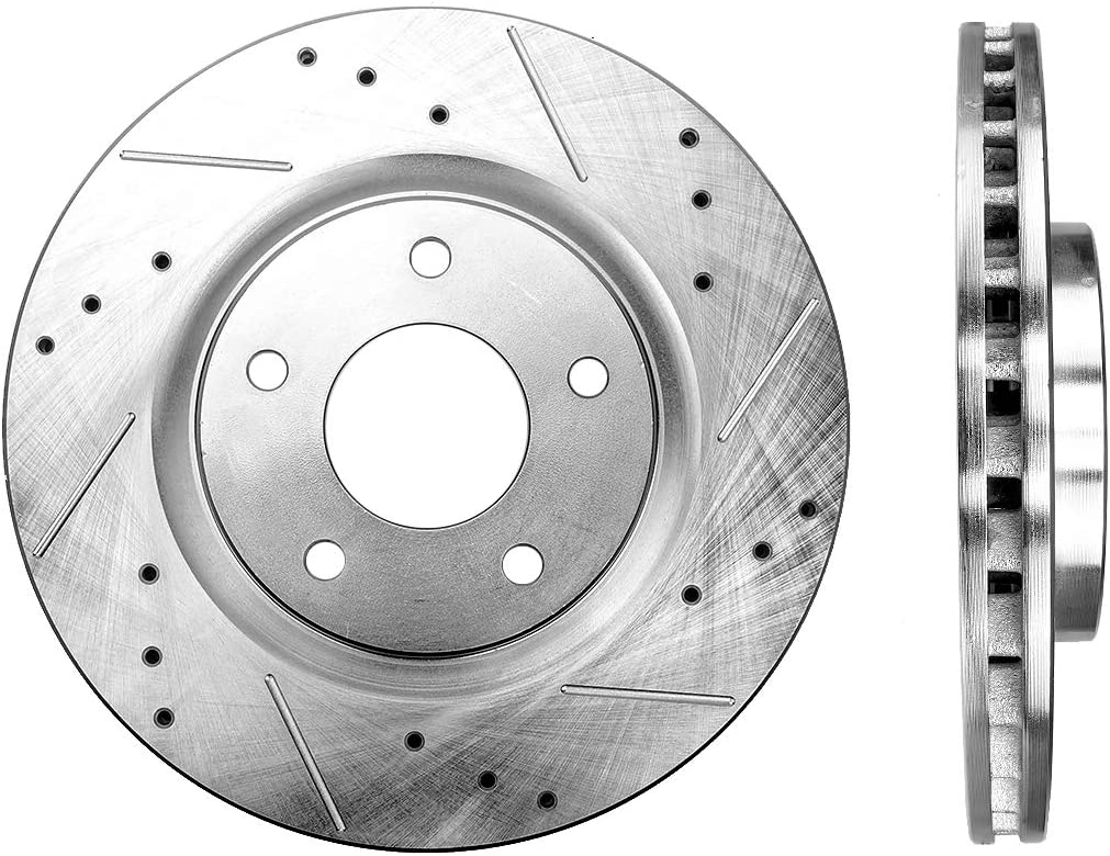 OE Series Rotors + Ceramic Pads Fits: 2008 08 Dodge Avenger SXT Models w// 262mm Rear Brake Rotors KT052943 Max Brakes Front /& Rear Premium Brake Kit