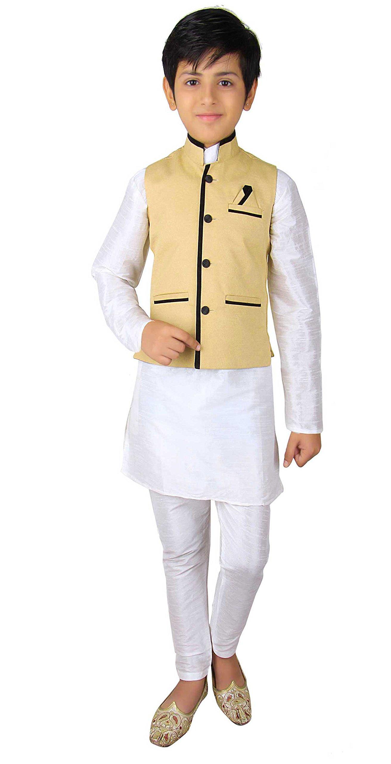 Boys Indian Modi Nehru Gandhi Style Waistcoat for Bollywood theme Costume party London 004 (8 (8 yrs), Light Gold)