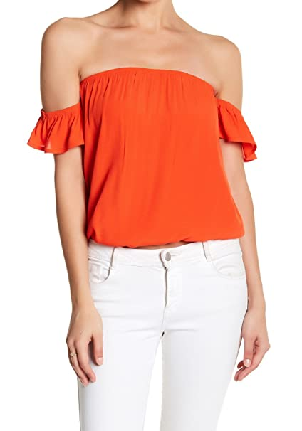 eaba598007829 Image Unavailable. Image not available for. Color  Elodie Womens Small Off-Shoulder  Ruffle Knit Top Orange S