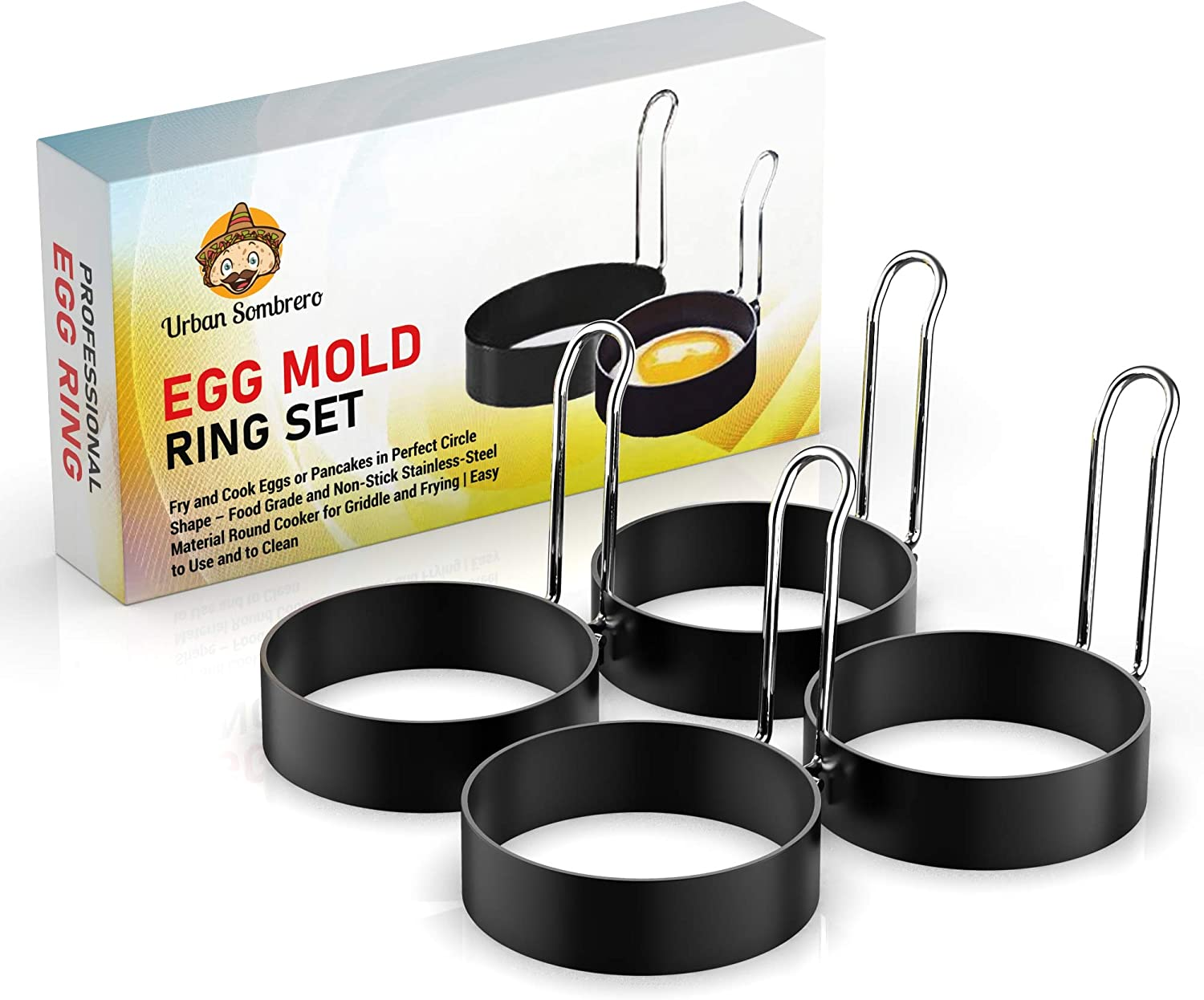 Egg Mold Ring Set (4 Pack) – Fry and Cook Eggs or Pancakes in Perfect Circle Shape – Food Grade, Non-Stick Stainless-Steel Material Round Cooker for Griddle and Frying Pan   Easy to Use and to Clean