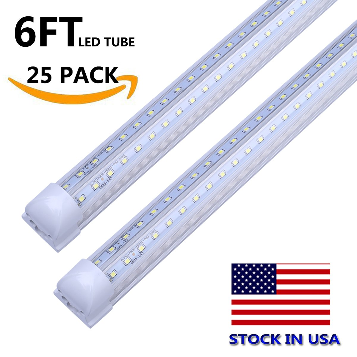 T8 Double Side V-Shape Integrated 270 Degree LED Light Tube Lamp 6FT 56W 120W Equivalent Works without T8 Ballast, Plug and Play, Clear Cover, Cold White 6000K, AC85-265V - Pack of 25 Units