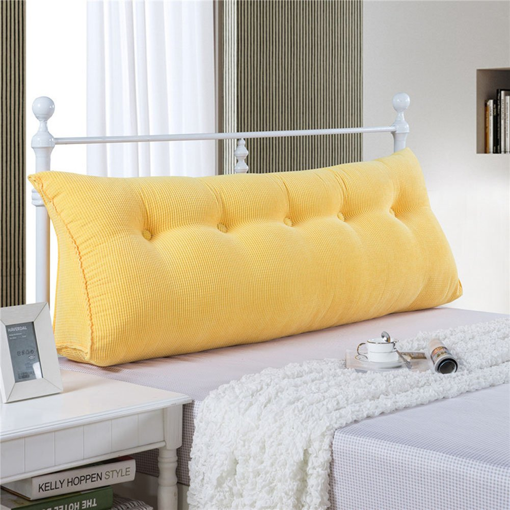 Vercart Sofa Bed Large Filled Triangular Wedge Cushion Bed Backrest Positioning Support Pillow Reading Pillow Office Lumbar Pad with Removable Cover Yellow 47x7.9x19inch