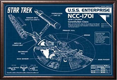 Amazon framed star trek enterprise blueprint 36x24 poster in framed star trek enterprise blueprint 36x24 poster in rust finish wood frame art print malvernweather Image collections