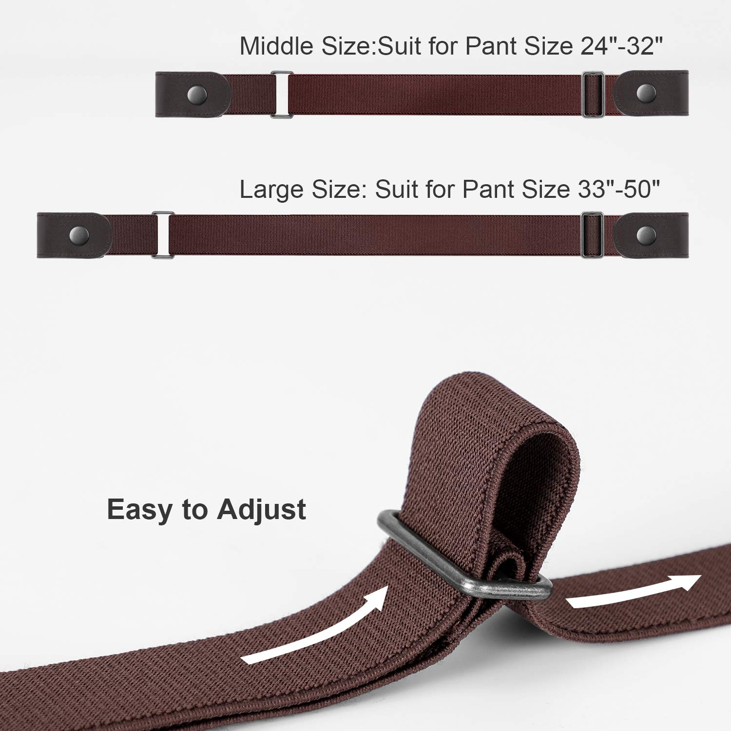 No Buckle Stretch Belt Women Plus Size Buckle Free No Show Invisible Belt for Jeans Pants Set of 2