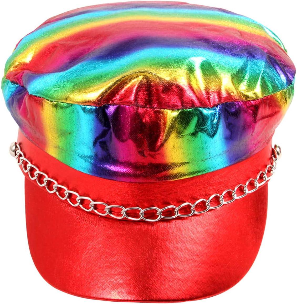 Cappello Arcobaleno Multicolore con Visiera Stile Rockstar con Catena per Costume Travestimento Halloween Carnevale Festa a Tema LGBT per Adulti Uomo Donna KH-310