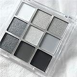 MAEPEOR Black Smokey Eyeshadow Palette 9 Colors Cool Toned Matte Glitter Eyeshadow Palette Longlasting Waterproof Smoky Eye S