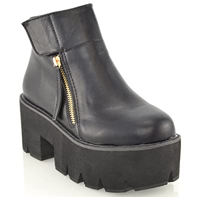 bd08522665a LADIES CHUNKY CLEATED SOLE GOTH PLATFORM BLOCK HEEL WOMENS ANKLE BOOTS  SHOES 3-8 (UK 4   EU 37   US 6