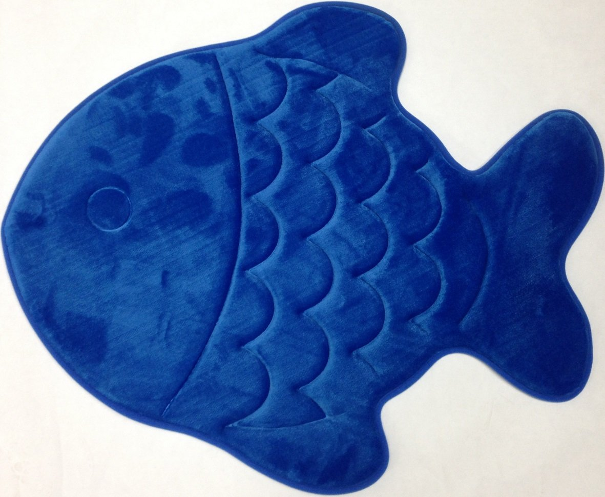 Amazon.com: Incredibly Soft And Absorbent Kidu0027s Memory Foam Bath Mat, 22 By  27 Inch, Blue Fish: Home U0026 Kitchen