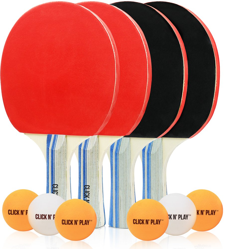Click N' Play 4 Player Premium Table Tennis Ping Pong Paddle Set, Indoor Outdoor Recreational Sport for Beginners and Professionals-4 Paddles and 6 Balls.