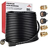"""YAMATIC Kink Resistant 3200 PSI Pressure Washer Hose 50 FT X 1/4"""", M22 to 3/8"""" Quick Connect Couplers For Replacement/Extensi"""
