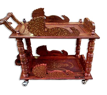 Aarsun Woods Handcarved Antique Style Wooden Service/ Bar Trolley