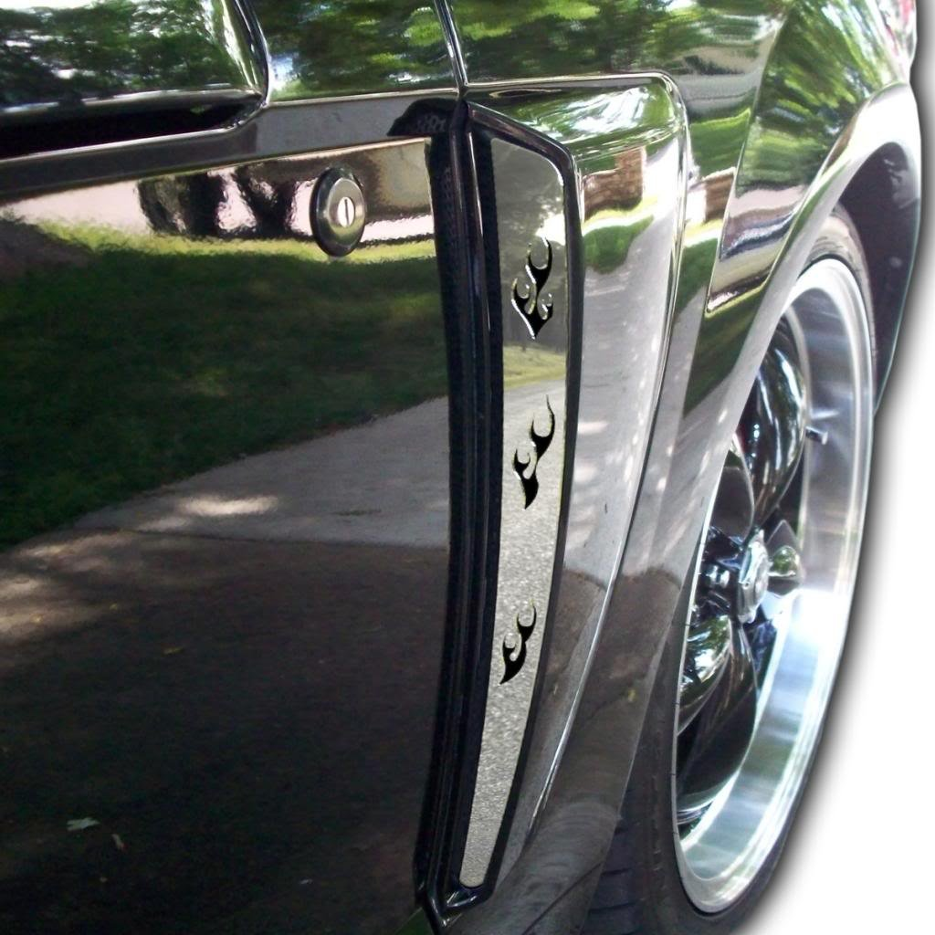 Ferreus Industries Polished Stainless Side Flame Scoop Trim Set of Two fits 1999-2004 Ford Mustang GT OTH-108-01-a