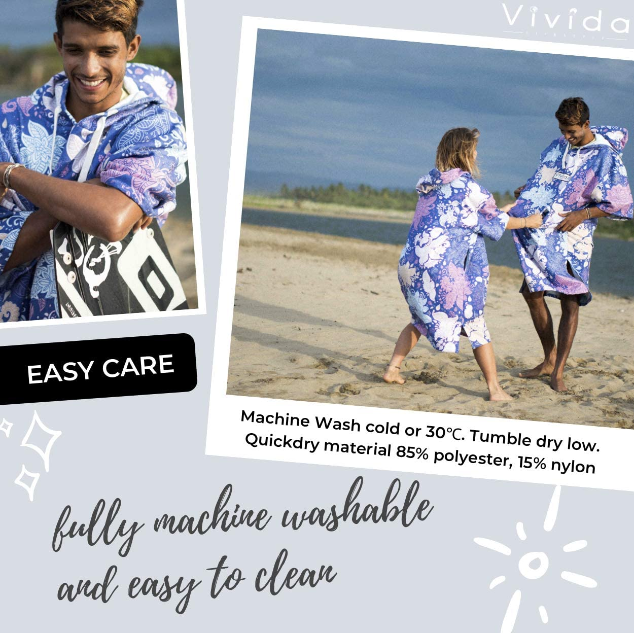 Hooded Poncho Towel Changing Robe Zip Pocket Underarm Access for Beach Surfing and Swimming Multiple Colours and Sizes Vivida Lifestyle