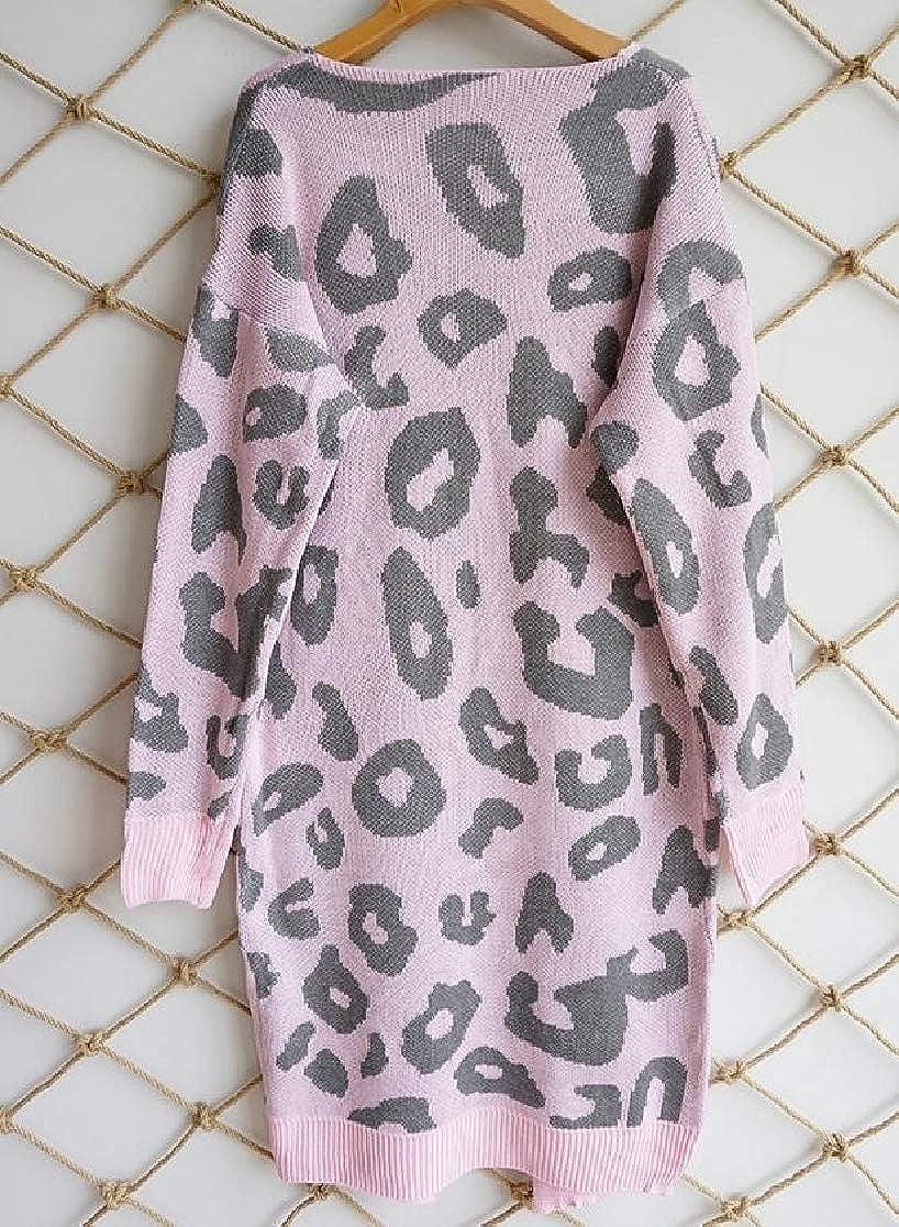 M/&S/&W Women Geometric Print Sweater Knitted Coat Front Pockets Fashion Cardigan