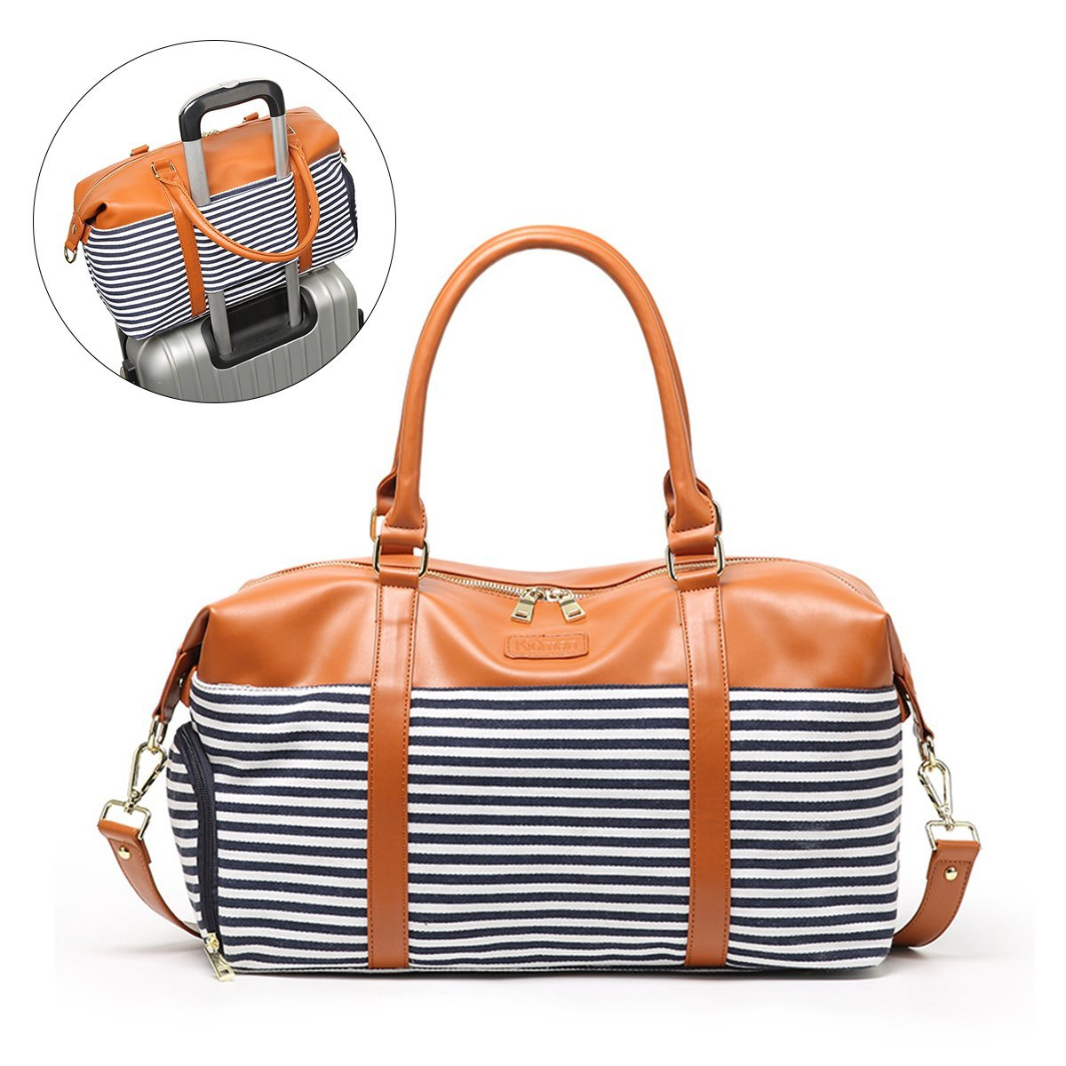 Stripe Weekend Travel Bag, OURBAG Women Crossbody Duffle Totes Overnight Bags