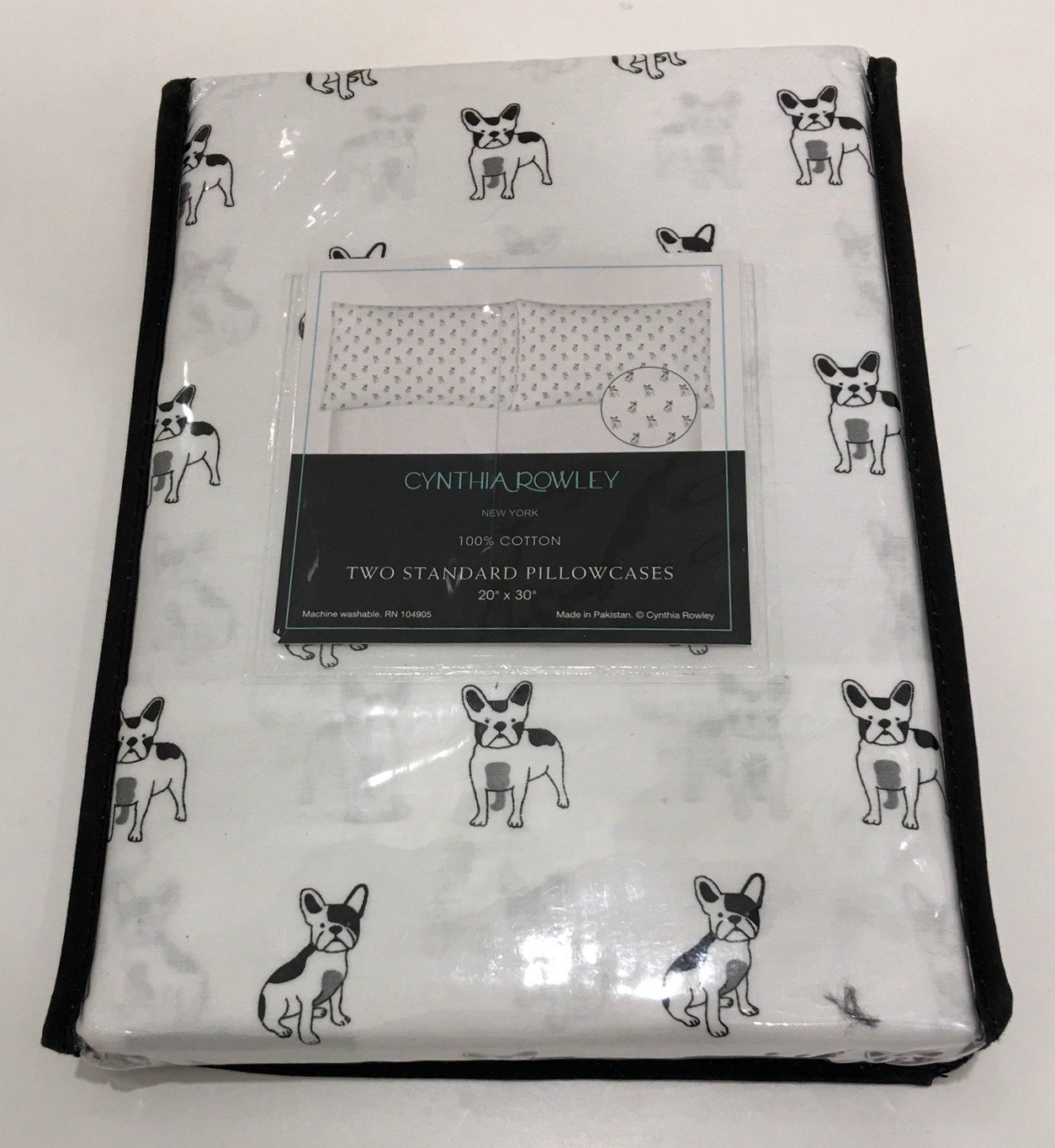 Cynthia Rowley French Bulldog 2-pc. Standard Pillow Case Set for Dog Lovers | 100% Cotton | 20'' x 30''