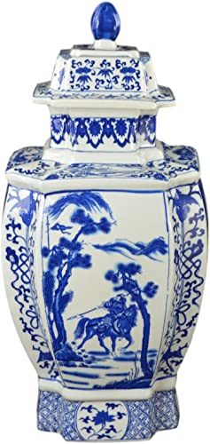 Festcool 19 Classic Blue and White Porcelain Octagonal Jar Vase, China Qing Style, Jingdezhen D22
