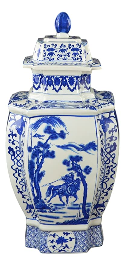 Amazoncom 19 Classic Blue And White Porcelain Octagonal Jar Vase