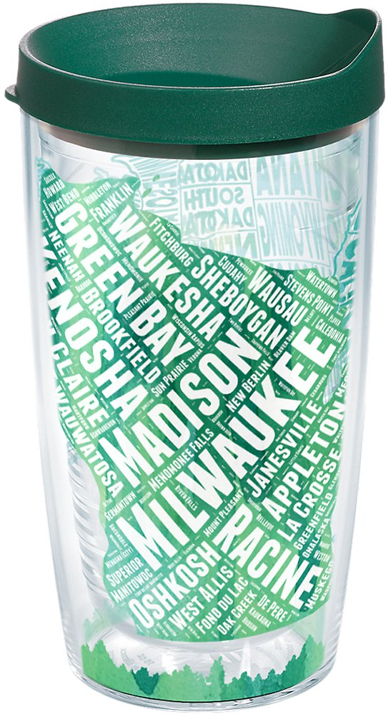 Tervis 1223995 Wisconsin Typography Map Insulated Tumbler with Wrap and Hunter Green Lid, 16oz, Clear