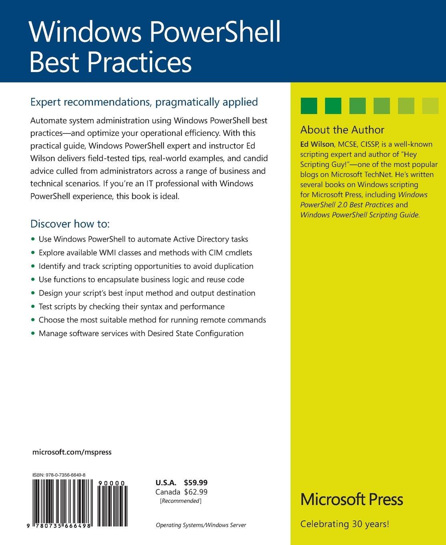 Windows PowerShell Best Practices: Ed Wilson: 9780735666498
