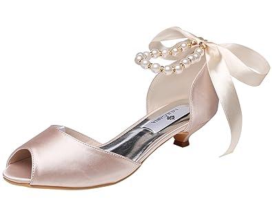 b9a49d56e8d2 M MULGARIA Women s Pumps Peep Toe Low Heel Pearls Ribbon Rhinestones Satin  Wedding Prom Shoes (