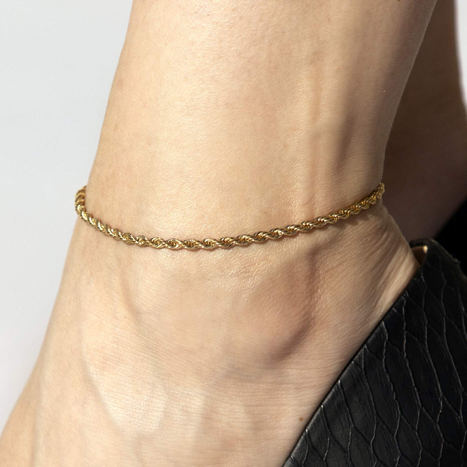 Lifetime Jewelry Ankle Bracelets for Women Men and Teen Girls - 3mm Rope Chain Anklet - Up to 20X More Real 24k Gold Plating Than Other Barefoot Chains (Gold-Plated-Bronze, 9.0) by Lifetime Jewelry (Image #7)