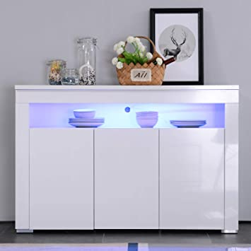 Mecor High Gloss Sideboard Storage Cabinet With RGB LED Lighting For Living Room Dining Furniture
