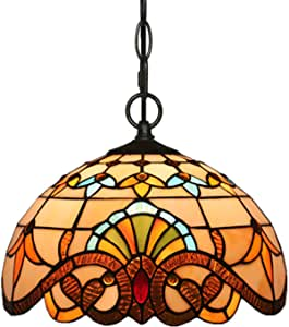 12 Inch Lamps Tiffany Style Pendant Lighting Light Fixtures, Ceiling Light Farmhouse Lighting,Kitchen Light Fixtures Pendant Light, Retro Hanging Lights, Beige Baroque Stained Glass Shade
