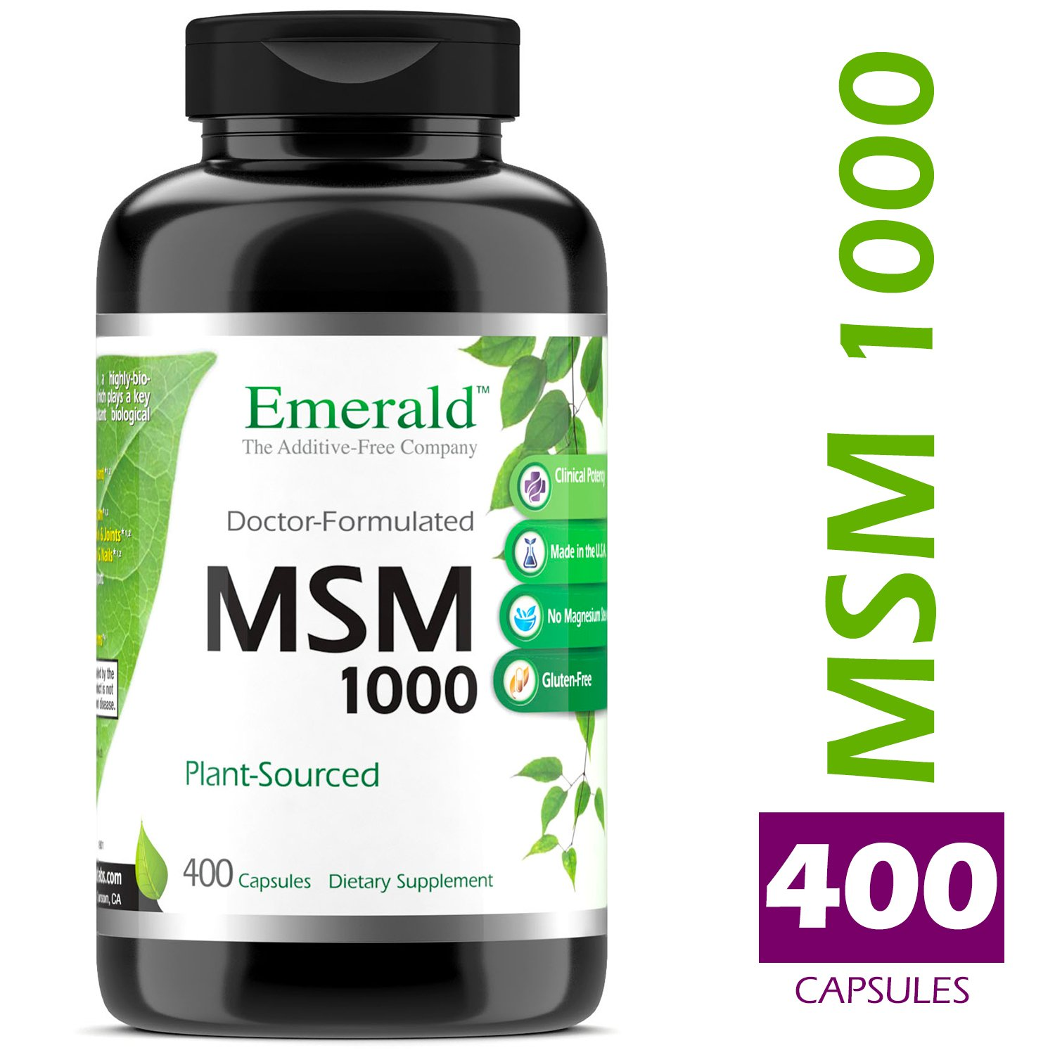 MSM 1,000 mg - Joint Support for Aches & Pains, Anti-Inflammatory, Stress Relief, Supports Digestive System, Allergy Relief - Emerald Laboratories (Ultra Botanicals) - 400 Capsules