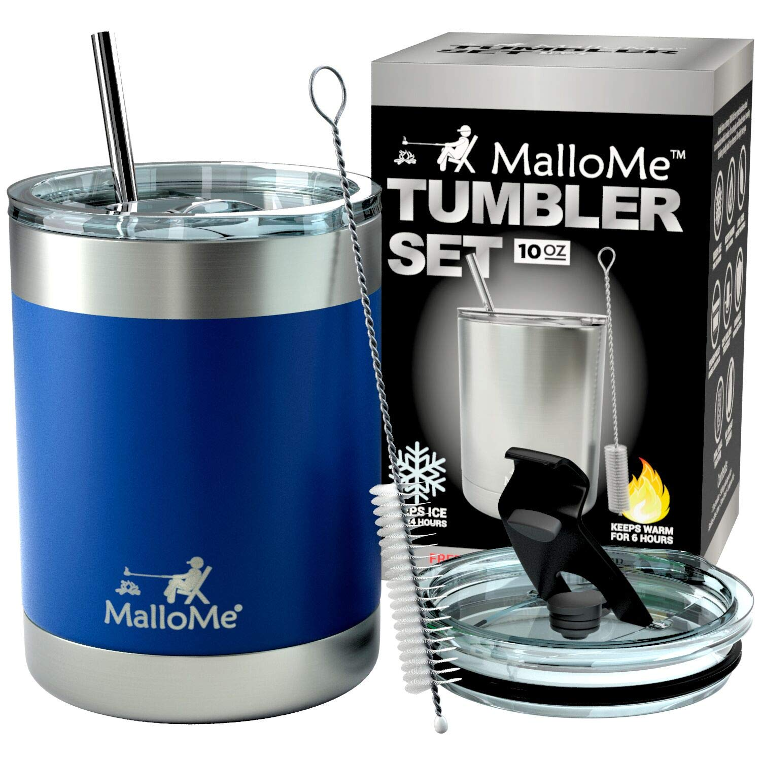 MalloMe Stainless Steel Vacuum Insulated 5-Piece Tumbler Set, Royal Blue 10 oz