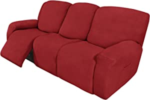 Easy-Going 8 Pieces Recliner Sofa Stretch Sofa Slipcover Sofa Cover Furniture Protector Couch Soft with Elastic Bottom Kids, Spandex Jacquard Fabric Small Checks Christmas Red
