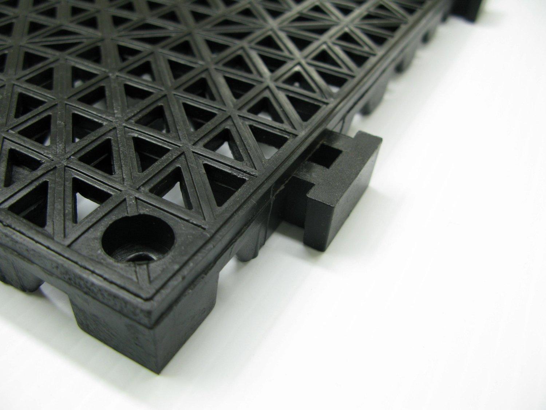 American Floor Mats 12'' x 12'' x 3/4'' PVC Safety Shower Lab Tile Black 12 Pack - 3' x 4' area by American Floor Mats (Image #2)