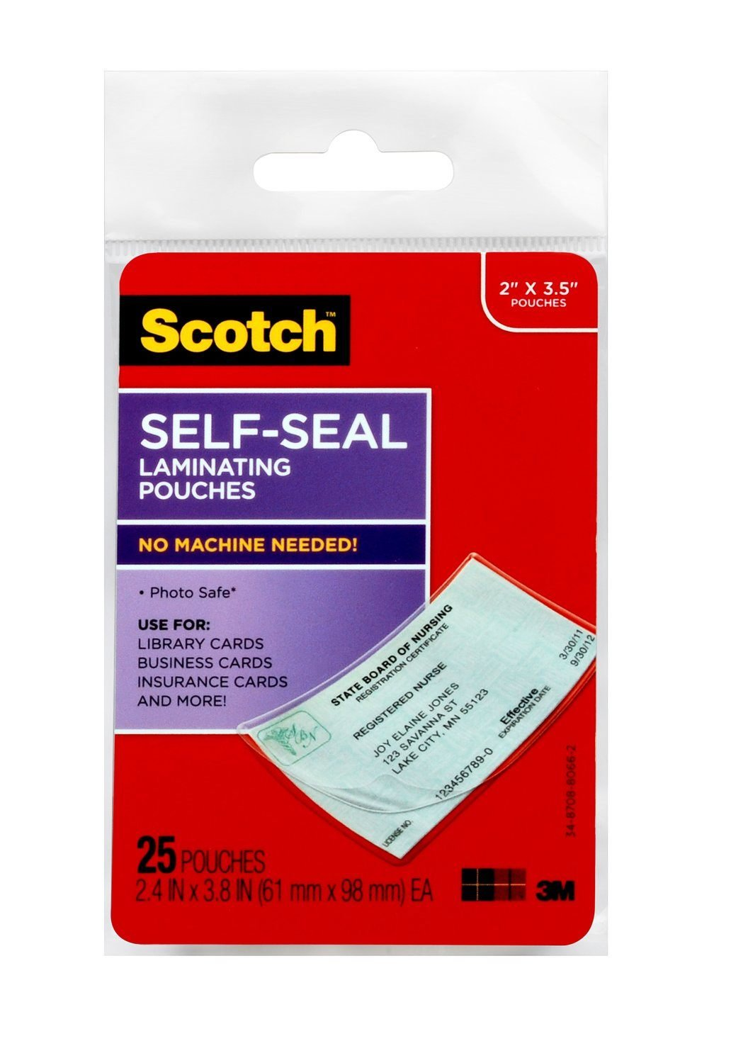 Scotch LS851G Self-Sealing Laminating Pouches, 9.5 mil, 2 7/16 x 3 7/8, Business Card Size (Pack of 25) by Scotch