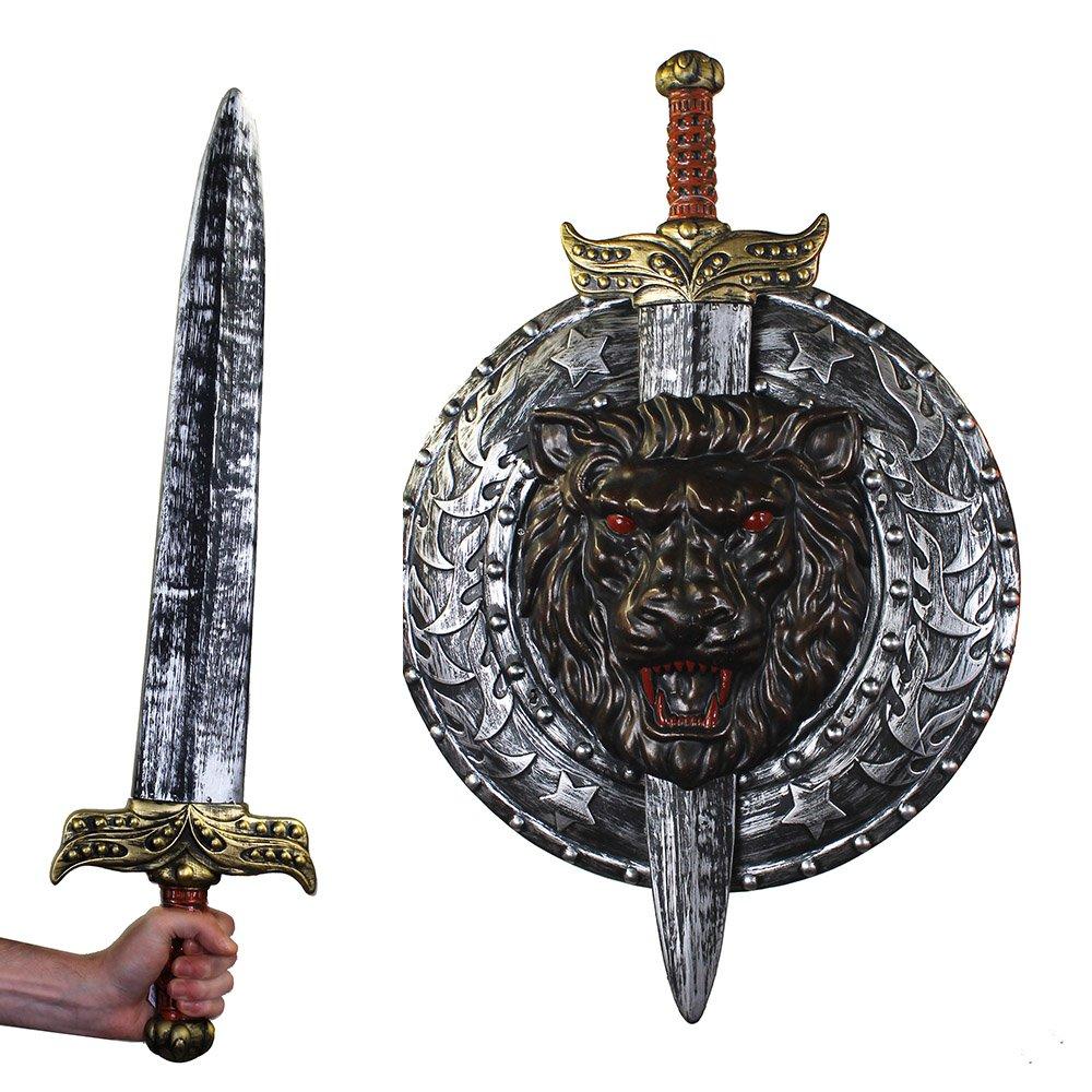 Accessoire pour gladiateur avec cet ensemble épée + bouclier argenté en plastique. Idéal pour les combats dans l'arène du colissé.