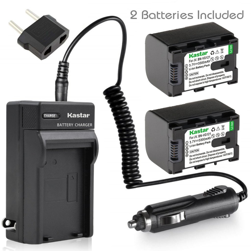 Kastar 2X Battery + AC Travel Charger for JVC BN-VG121 BNVG121 BN-VG107 BN-VG107U BN-VG108E BN-VG108U BN-VG114 BN-VG114AC VG114E VG114U VG121AC VG121 VG121U BN-VG138 VG138E VG138U GZ EX310 HM890 MG980